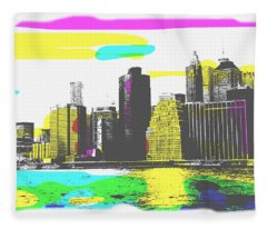 Pop City Skyline Fleece Blanket