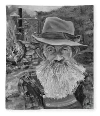 Popcorn Sutton - Black And White - Rocket Fuel Fleece Blanket