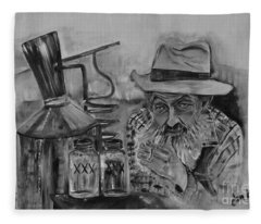 Popcorn Sutton - Black And White - Waiting On Shine Fleece Blanket