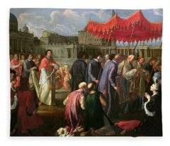 Pope Clement Xi In A Procession In St. Peter's Square In Rome Fleece Blanket