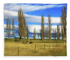 Poplars,fence And Grasses Fleece Blanket