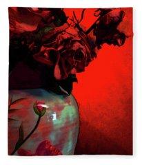 Poppies And Roses Fleece Blanket