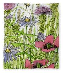 Poppies And Wildflowers Fleece Blanket