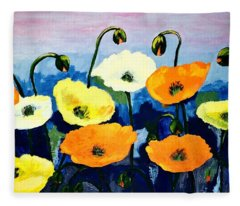 Poppies In Colour Fleece Blanket