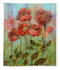 Poppies In Pastel Watercolour Fleece Blanket