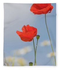 Poppies Reaching For The Skies Fleece Blanket