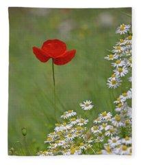Poppy And The Daisies Fleece Blanket