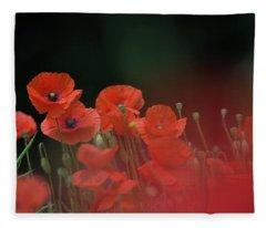 Poppy Black Fleece Blanket