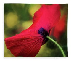Poppy In The Rain Fleece Blanket