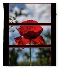 Poppy Triptych Fleece Blanket