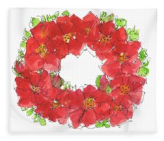 Poppy Wreath Fleece Blanket