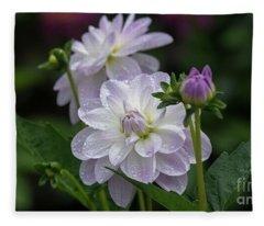 Porcelain Dahlias Fleece Blanket
