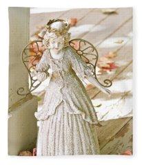 Porch Angel In The Fall Fleece Blanket