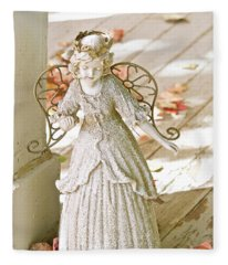 Porch Angel In The Fall Fleece Blanket