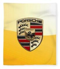 Porsche - 3d Badge On Yellow Fleece Blanket