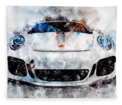 Porsche Watercolor Fleece Blanket
