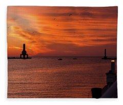 Port Washington Marina Sunrise Fleece Blanket