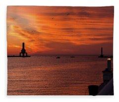 Port Washington Marina Sunrise March 2018 Fleece Blanket