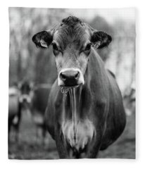 Portrait Of A Dairy Cow In The Rain Stowe Vermont Fleece Blanket