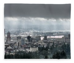 Portland After A Morning Rain Fleece Blanket