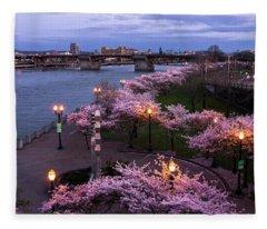 Portland Cherry Blossoms Fleece Blanket
