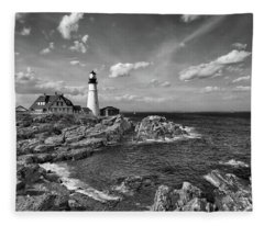 Portland Head Lamp Fleece Blanket