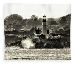 Portland Head Light At Cape Elizabeth In Black And White Fleece Blanket
