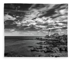 Portland Head Light In Black And White Fleece Blanket