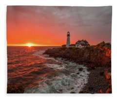 Portland Head Sunrise Fleece Blanket