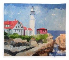 Portland Headlight By The Sea Fleece Blanket