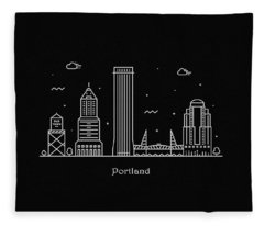 Portland Skyline Travel Poster Fleece Blanket