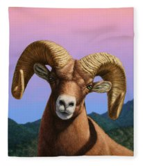 Portrait Of A Bighorn Fleece Blanket