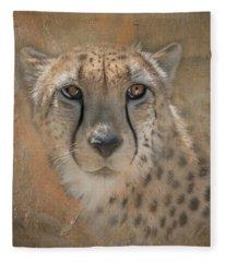 Portrait Of A Cheetah Fleece Blanket
