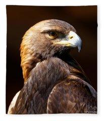 Portrait Of A Golden Eagle Fleece Blanket