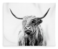 Portrait Of A Highland Cow Fleece Blanket