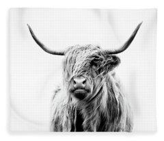 Portrait Of A Highland Cow Fleece Blanket