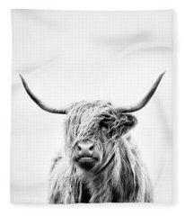 Portrait Of A Highland Cow - Vertical Orientation Fleece Blanket