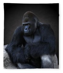 Portrait Of A Male Gorilla Fleece Blanket