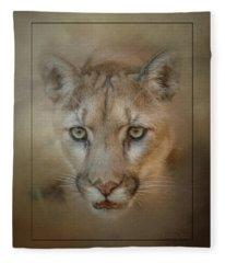Portrait Of A Mountain Lion Fleece Blanket