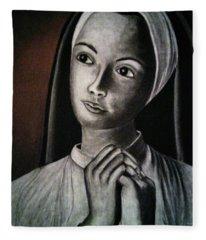 Portrait Of A Nun Fleece Blanket