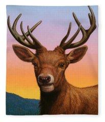 Portrait Of A Red Deer Fleece Blanket