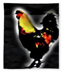 Portrait Of A Rooster Fleece Blanket