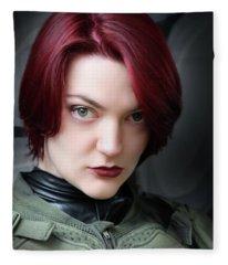 Portrait Of A Starship Trooper Fleece Blanket