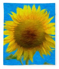 Portrait Of A Sunflower Fleece Blanket
