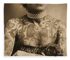 Portrait Of A Tattooed Woman Fleece Blanket