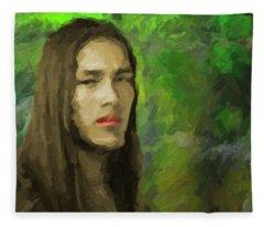 Portrait Of Enzo. Fleece Blanket