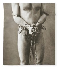 Portrait Of Harry Houdini In Chains, Circa 1900 Fleece Blanket