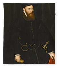 Portrait Of John Lumley 1st Baron Lumley Fleece Blanket