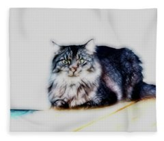 Portrait Of Maine Coon, Mattie Fleece Blanket