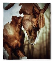 Portrait Of Paint Horse Stallion Fleece Blanket